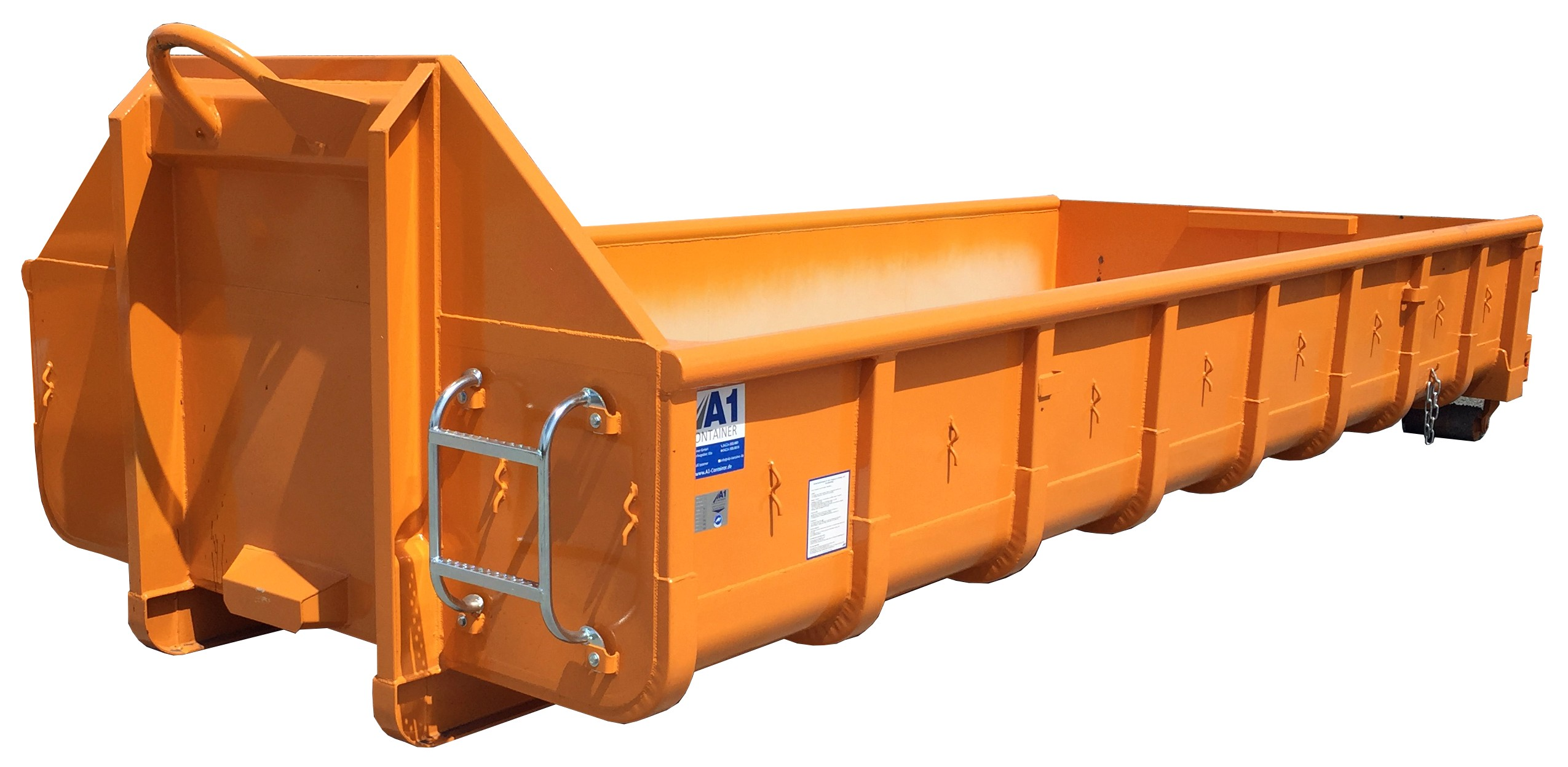 Normbehälter 11 m³ Doppelflügeltür – ORANGE – Abrollcontainer