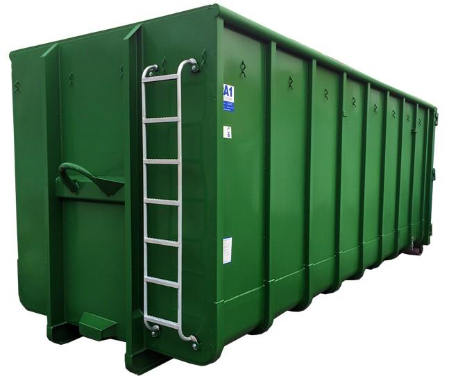 Normbehälter 40 m³ Doppelflügeltür – GRÜN – Abrollcontainer